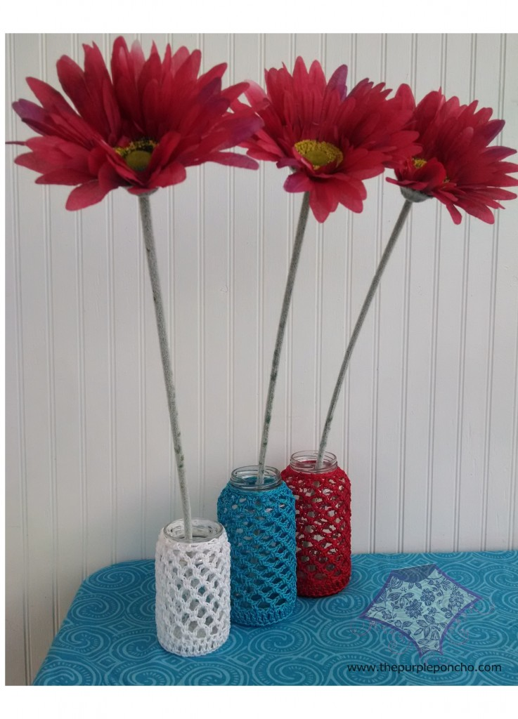 Trio of Recycled Jar Cozies by The Purple Poncho