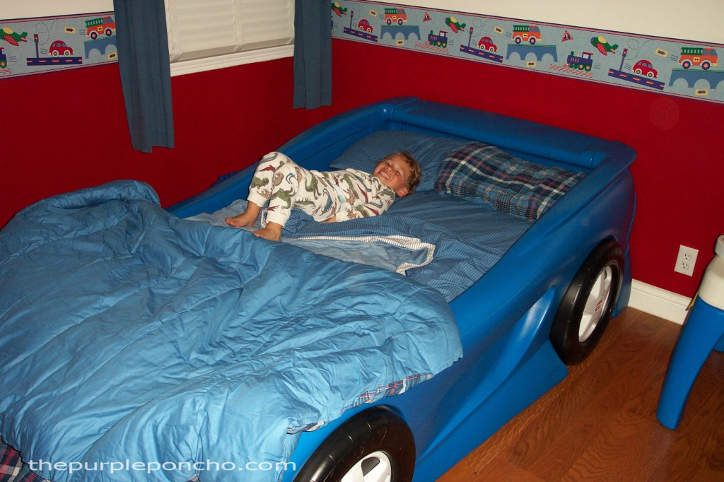 My sons car bed when he was 3 years old.