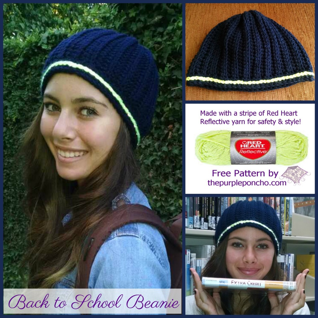 Back to School Beanie - Red Heart Yarn - pattern by The Purple Poncho 2014