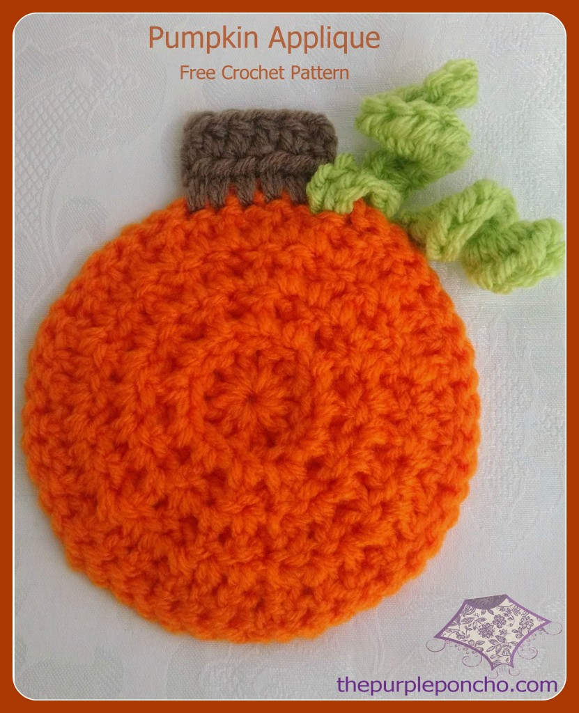 Cute Pumpkin Applique  Free Crochet Pattern by The Purple Poncho
