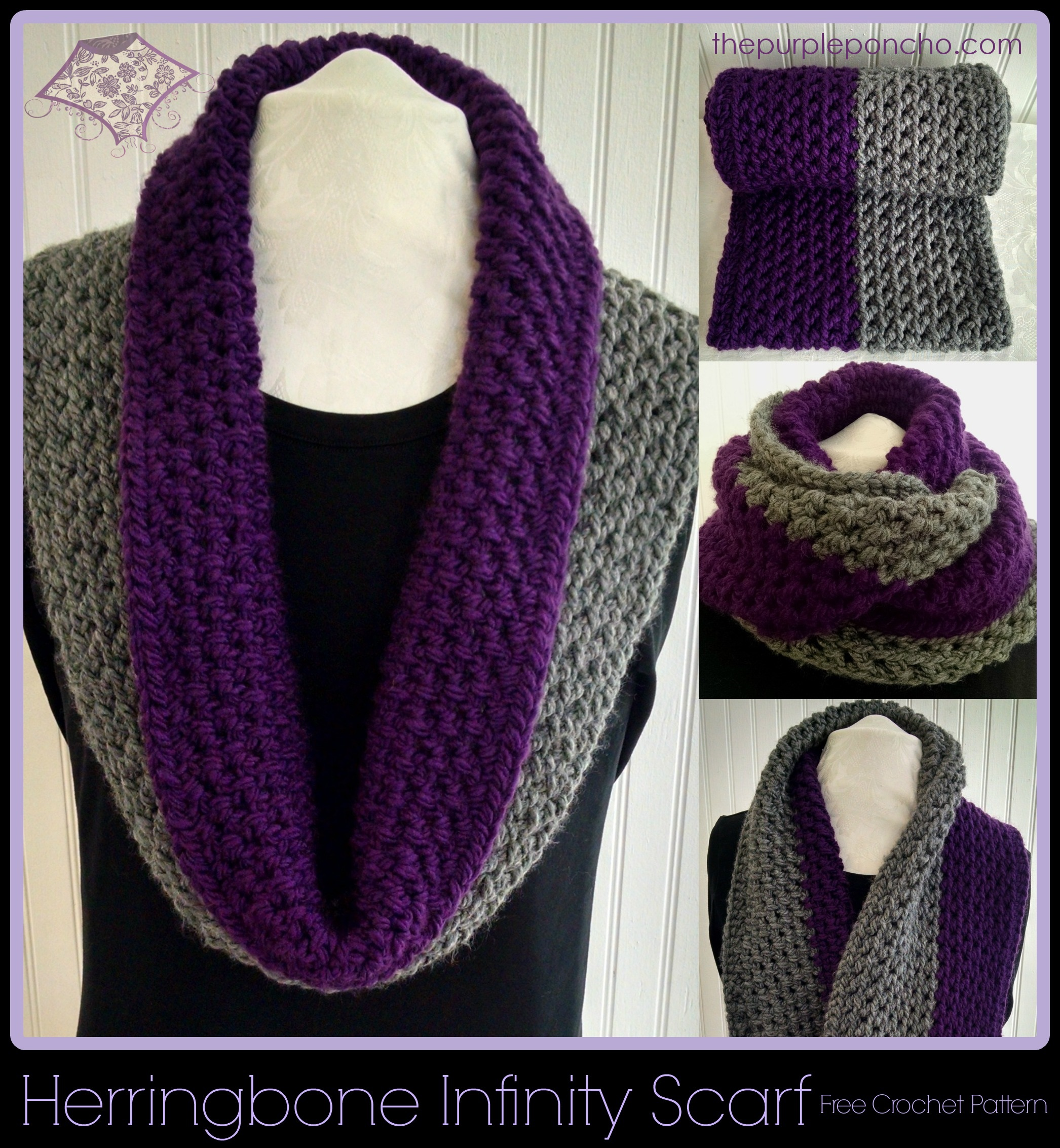Herringbone Infinity Scarf - Free Patterns