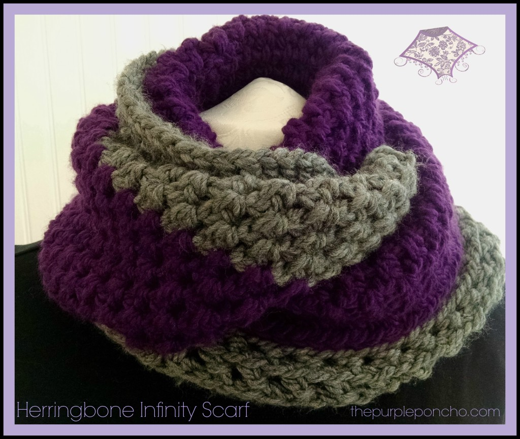 Herringbone Infinity Scarf by The Purple Poncho A Free Crochet Pattern