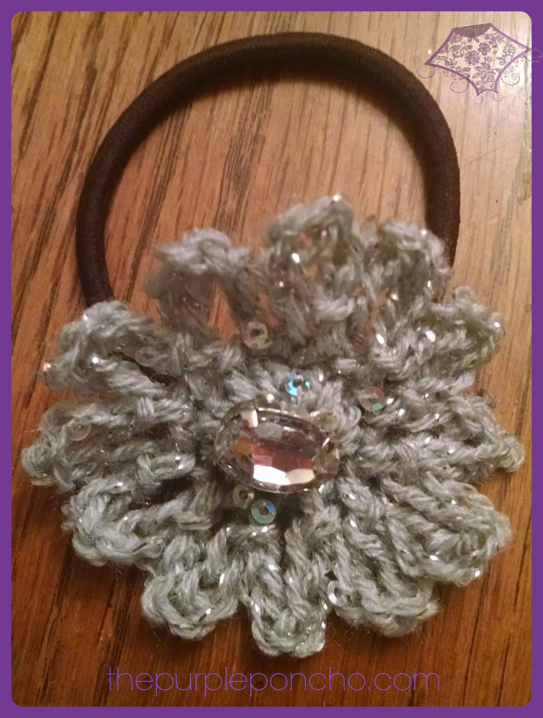 Sparkle Flower Hair Accessory A  Free Crochet Pattern by The Purple Poncho