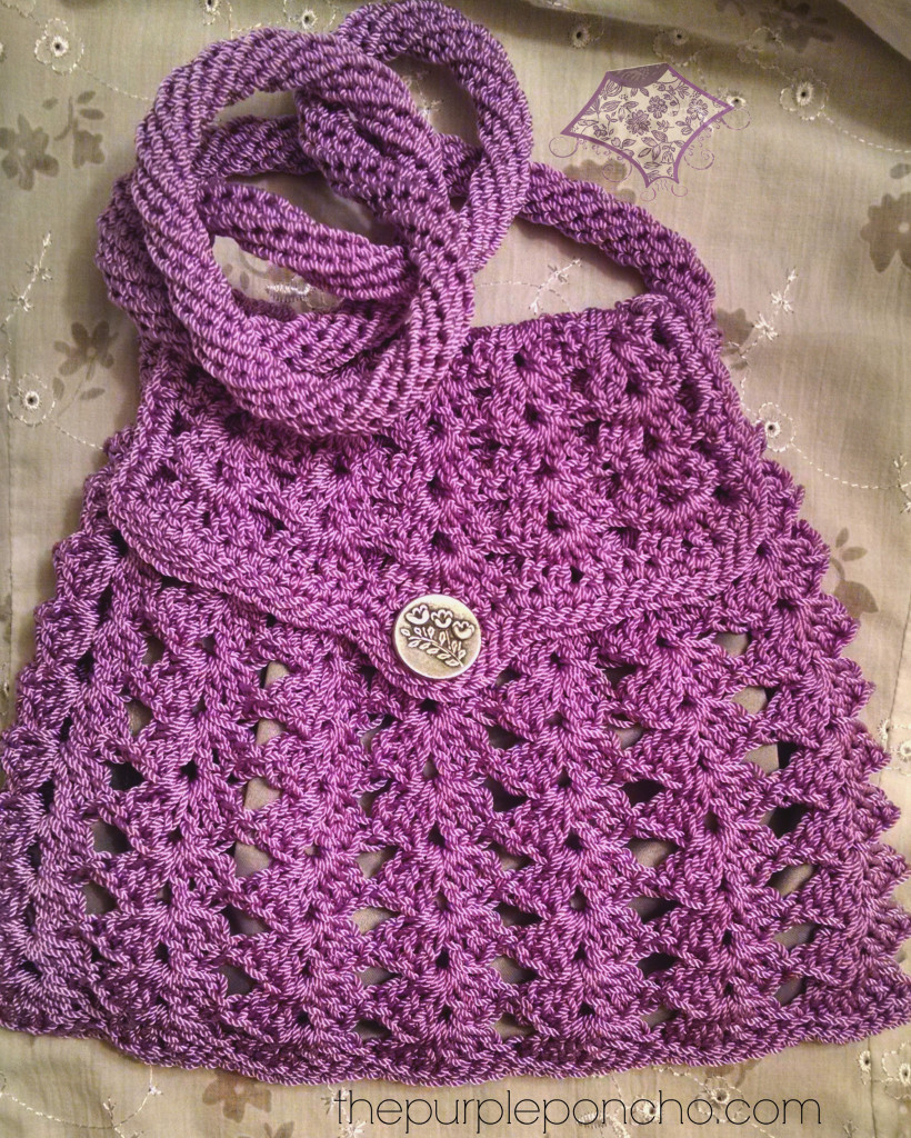Crochet Crossbody Bag Pattern : Lavendar cross body bag lined with silver fabric
