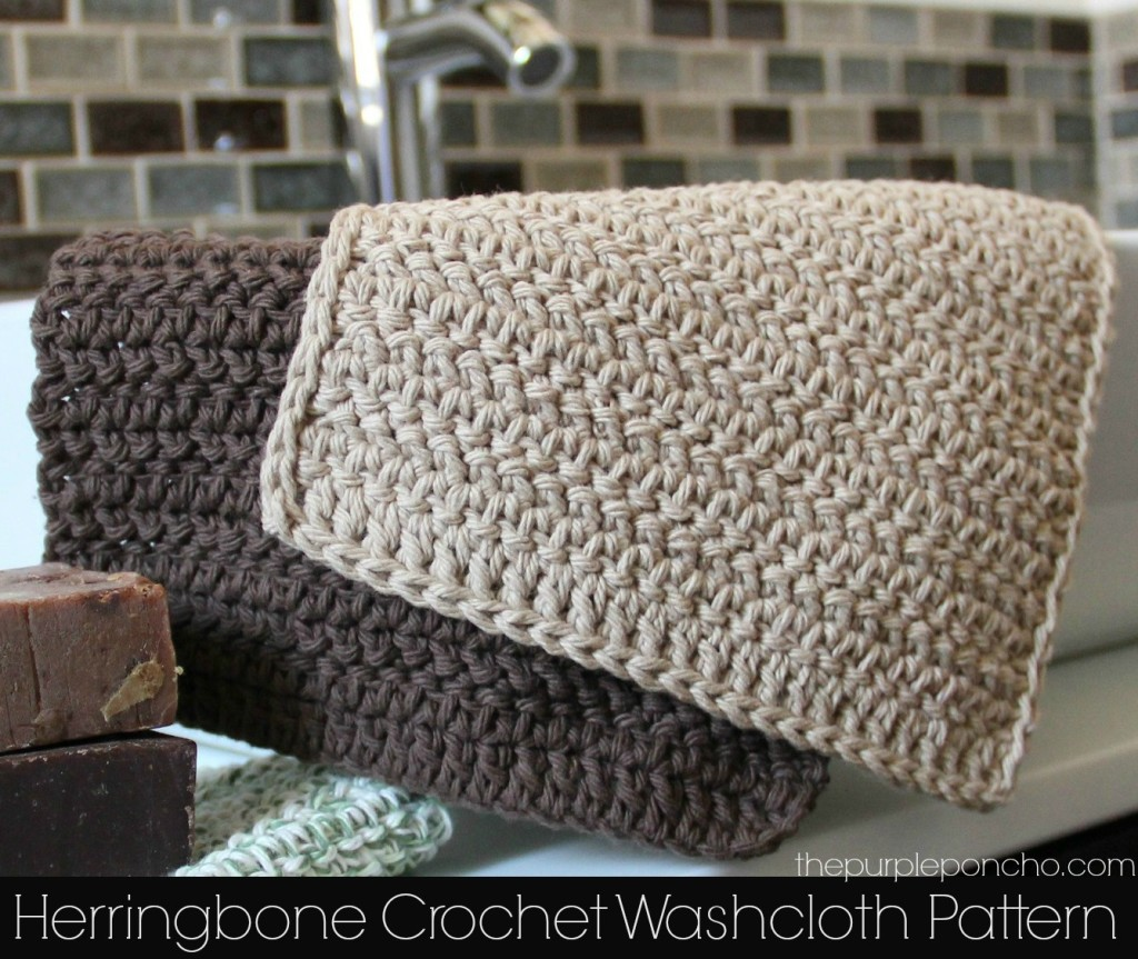 Crochet Stitch Herringbone : Herringbone Crochet Washcloth Pattern - The Purple Poncho
