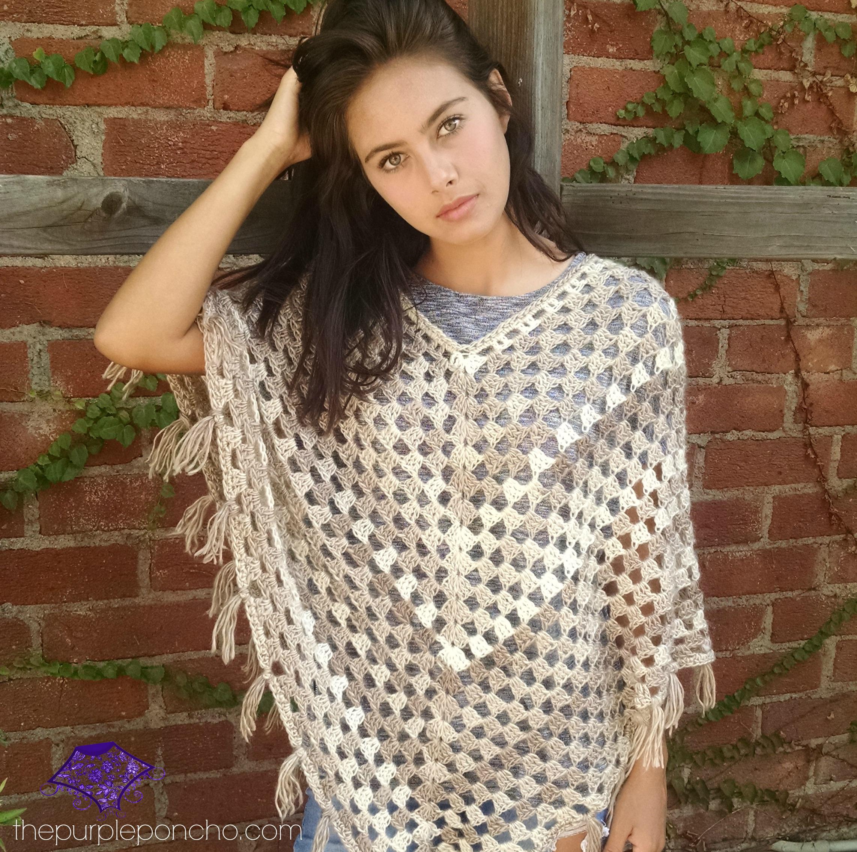 Free Crochet Poncho Patterns Adults : Timeless Boho Poncho ? Free Crochet Pattern ? The Purple ...