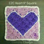 C2C Heart 9″ Square – Free Crochet Pattern