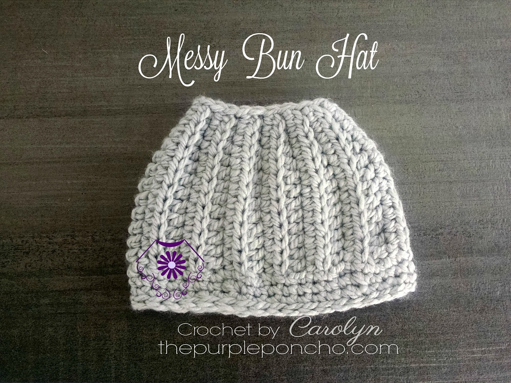 Crochet Messy Bun Hat : Messy Bun Hat - Free Crochet Pattern - The Purple Poncho
