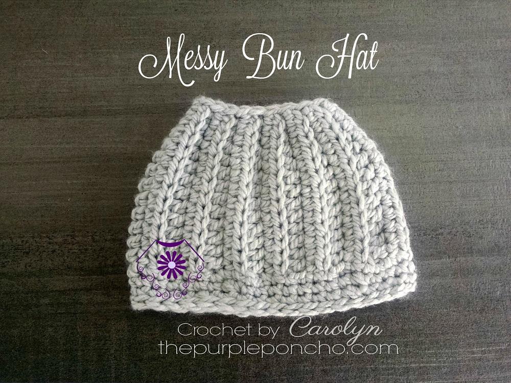 Crochet Patterns Messy Bun Hat : Messy Bun Hat - Free Crochet Pattern - The Purple Poncho