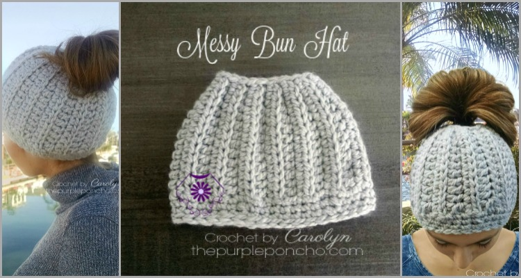 Messy Bun Hat - Free Crochet Pattern - The Purple Poncho