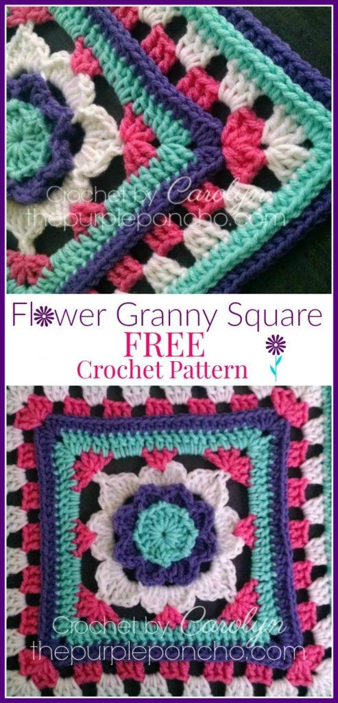 1 Inch Crochet Flower Pattern : Flower Granny Square ? Free Crochet Pattern ? The Purple ...
