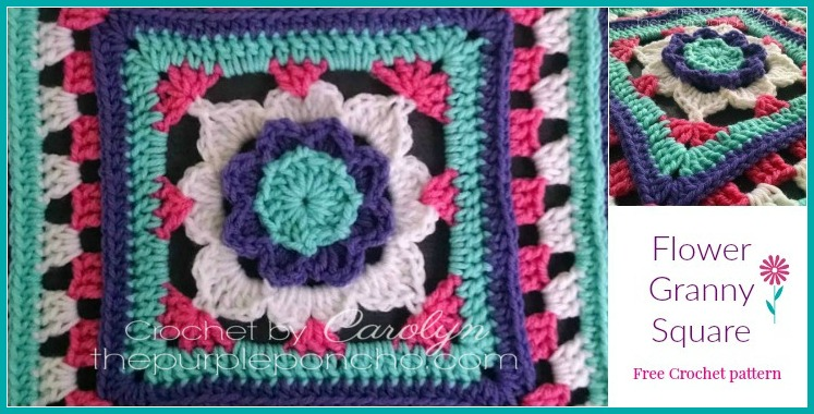 12 Inch Granny Square Flower Free Crochet Pattern By The Purple